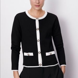 Zara Black & White Chanel Cardigan, Pearl Buttons